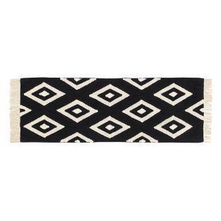 Tapis coton motif diamant - noir...