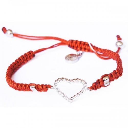 Bracelet marron tissé à breloque Coeur