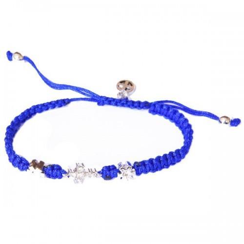 Blue Bracelet w/ Cross & Flowers