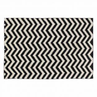 Tapis coton motif zig zag - noir...