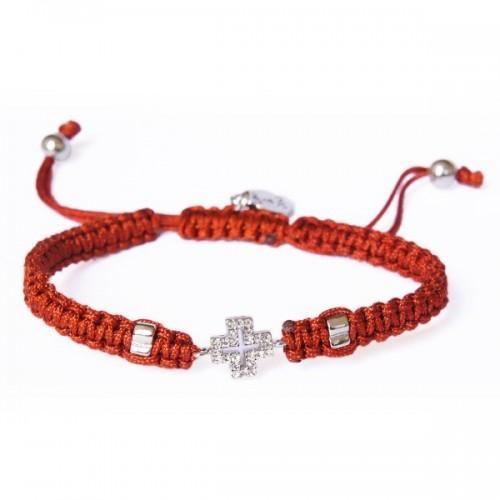 Bracelet marron tissé à breloque Croix