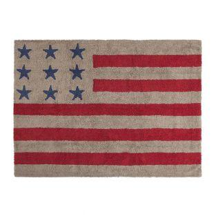 Cotton carpet with USA flag - linen &...