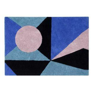 Tapis coton motif Géométrie - saphir...