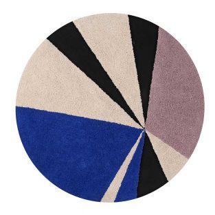 Tapis coton rond figures - saphir -160 Ø