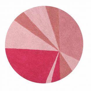 Tapis coton rond figures - rose - 160 Ø