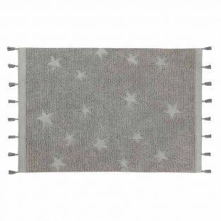 Baumwollteppich mit Sternen - grau -...