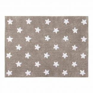Tapis coton motif étoiles - lin blanc...