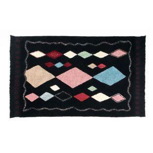 Tapis coton motif Meknes - noir - 140...