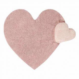 Tapis coton relief coeur - rose - 110...