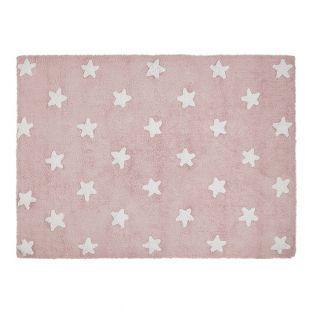 Tapis coton motif étoile - rose - 120...