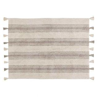 Cotton carpet with stripes - gray -...