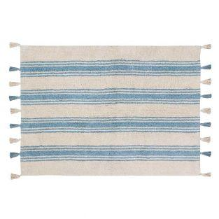 Cotton carpet with stripes - blue -...