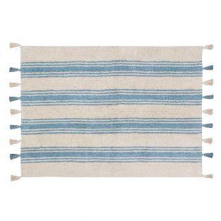 Tapis coton rayures - bleu...