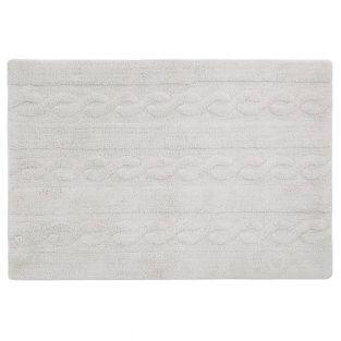 Tapis coton motif tresse - gris - 120...