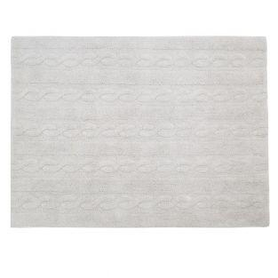 Tapis coton motif tresse - gris -120...
