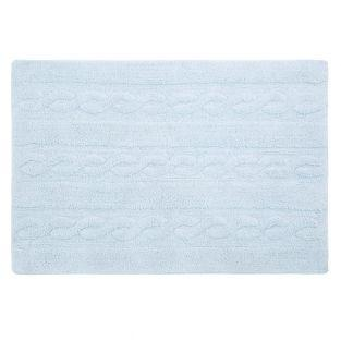 Tapis coton motif tresse - bleu -120...
