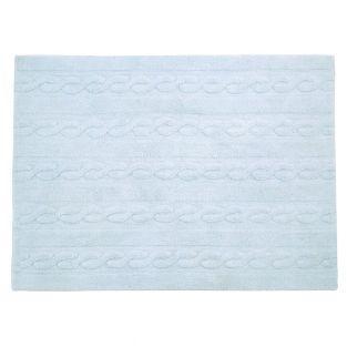 Tapis coton motif tresse - bleu - 120...