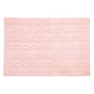 Tapis coton motif tresse - rose - 120...