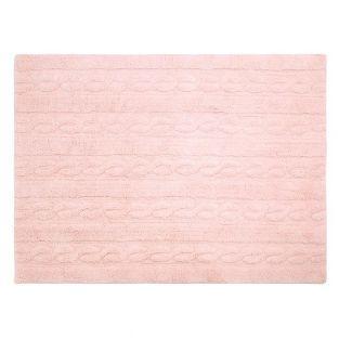 Alfombra de algodón trenzada- rosa -...