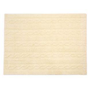 Tapis coton motif tresse - vanille -...