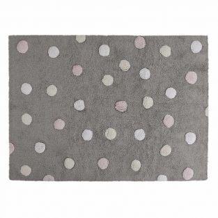 Tapis coton motif pois 3 couleurs -...