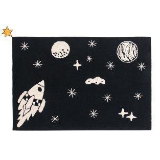 Tapis coton motif espace - noir - 140...