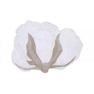 Tapis coton motif fleur de coton -...