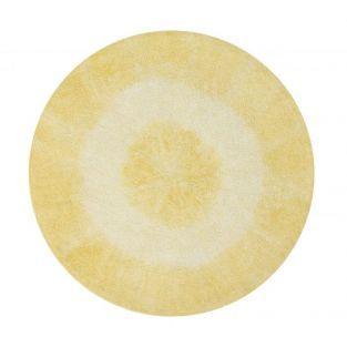 Tapis coton rond dégradé - jaune - 150 Ø