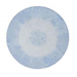 Tapis coton rond dégradé - bleu clair...