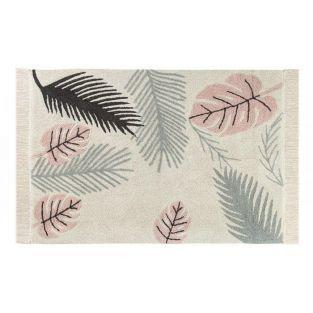 Tapis coton motif tropique feuilles -...