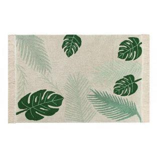 Baumwollteppich mit tropischem Motiv...