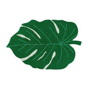 Baumwollteppich Tropenblatt-Muster...