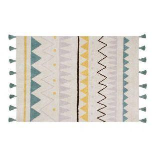 Tapis coton motif indien - beige bleu...