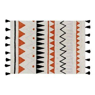 Tapis coton motif indien - rouge -...