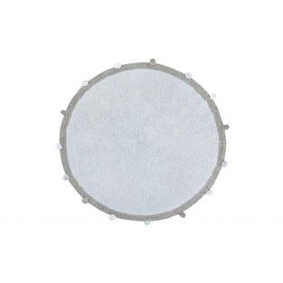 Round cotton carpet with pompom -...