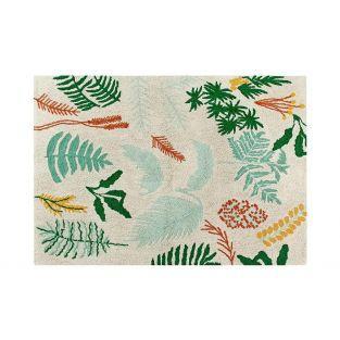 Tapis coton motif plantes et fleurs -...