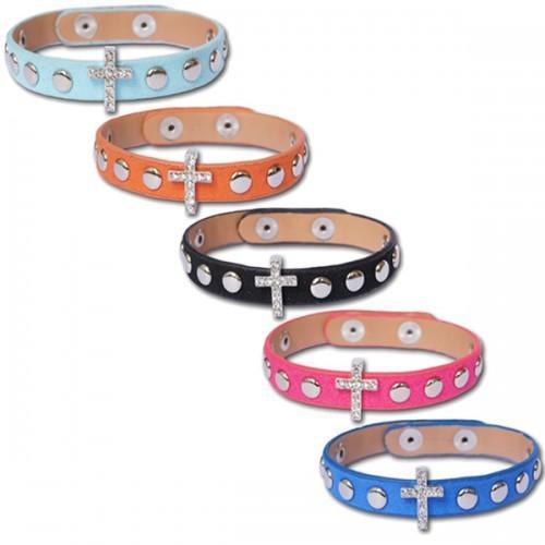 Bracelet daim coloré à Croix Cristal amovible