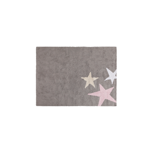 Cotton carpet 3 stars - gray & pink -...