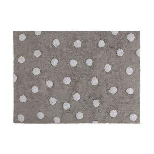Cotton rug with polka dots - gray -...