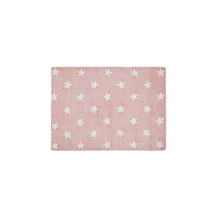 Cotton carpet Star pattern - pink -...