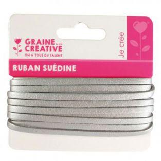 Suede Band 4,5 m - Silber