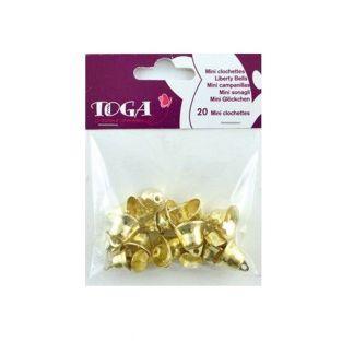 20 mini campanas doradas