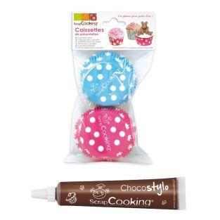 Cápsulas para Cupcakes puntos + Tubo...