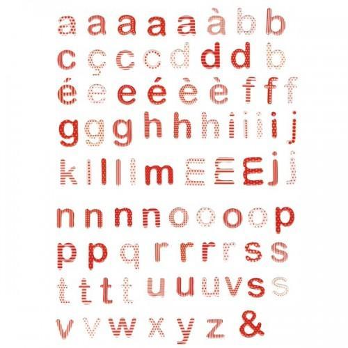 Sachet de lettres epoxy rouges et blanches à motifs