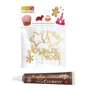 4 golden Christmas accessories +...