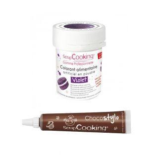 Lebensmittelfarbe Lila + Schokolade...