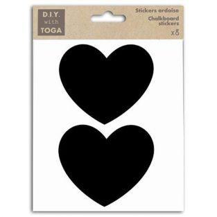 8 stickers ardoise - grands Coeurs