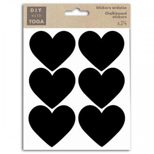 24 slate stickers - small Hearts