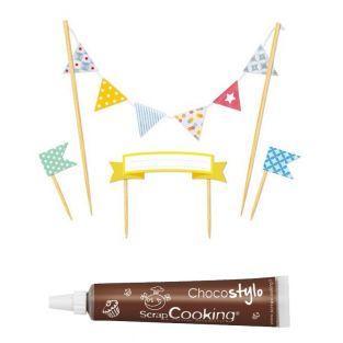 Stylo chocolat + Déco gâteau fanions...