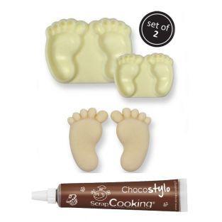 Kuchenform Baby-Füße x 2 + Schokolade...